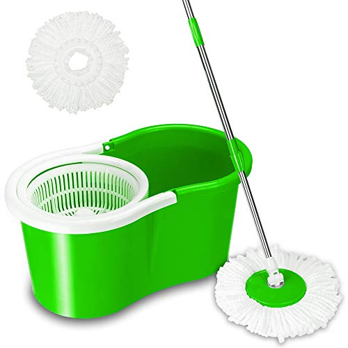 Valuebox Spin Bucket System Mop with Extended Length Handle 2 Microfiber Mop Heads 360° Rotation Easy Floor Mop - Mop Green Blue