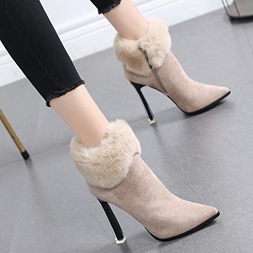 HRCxue Pumps Martin Stiefel Baumwolle Schuhe Frauen Plus Plus Plus Samt High Heel Damen Stiefeletten Stiletto Spitzen nackte Stiefel, 34, Beige 4541c8