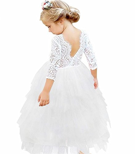 Girls Backless Lace Dress Flower Girl Long Sleeve Tutu Party Dresses ()