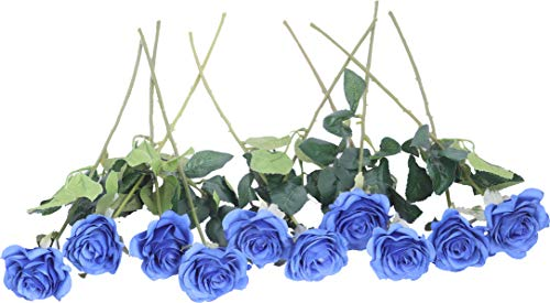 (LNHOMY 10pcs Artificial Rose Flowers Silk Blossom Real Touch Flower for Home Wedding Décor (Blue))