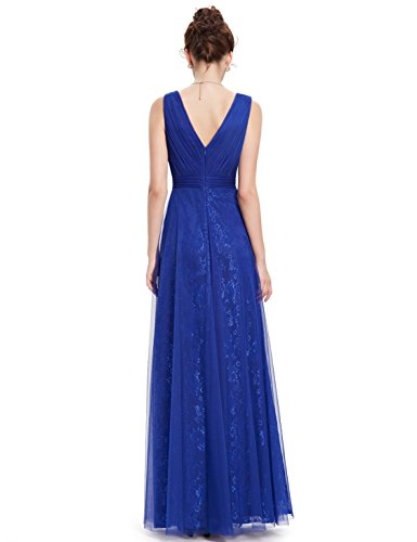 Rueschen Mesh Abendkleid Sexy Party Ever 08532 V Ausschnitt Saphirblau Pretty Lace Damen Lang w0xBqaX