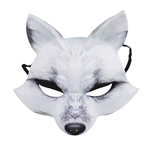 AMOSFUN Halloween Fox Half Mask Cosplay Animal Face Mask Realistic EVA Party Mask for Halloween Cosplay Costume Accessory (White)