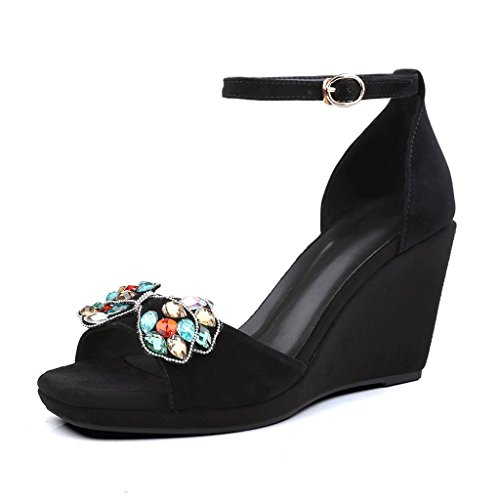 Dream Elegant Student Open-toed High-Heeled Sandals Summer Fashion Women's Work Shoes Wedge Sandals Black DFvOgLKF