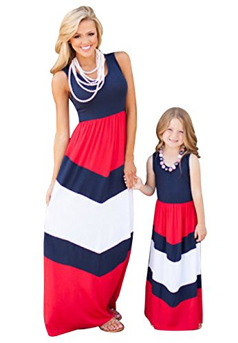 OMZIN Mommy and Me Dress Family Clothes Long Maxi Dress Blue Red L - Maxi Dresses For Women For Church