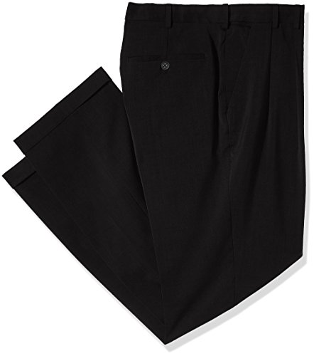 Van Heusen Men's Big and Tall Traveler Stretch Pleated Dress Pant, Black, 38W X 36L (Double Pleated Dress Pants)