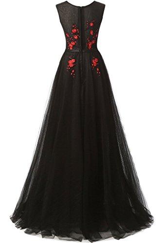 Promkleid Applikation Schwarz Festkleid Ivydressing Linie Damen Rundkragen Abendkleid A 56wwq1vX