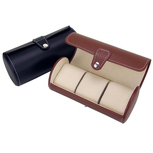 Clode® 3 Slot Tragbare Uhr Fall Roll Armbanduhr Box Lagerung Travel Beutel (Braun) -