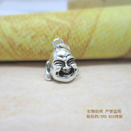(usongs S925 sterling silver Thai Buddha statue Buddha head ornaments Laughing Buddha necklace pendant Laughing Buddha necklace pendant Bracelet)