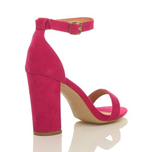 Ajvani Strappy Pink Suede High Block Size Sandals Heel Fuchsia Women PqrZRwP