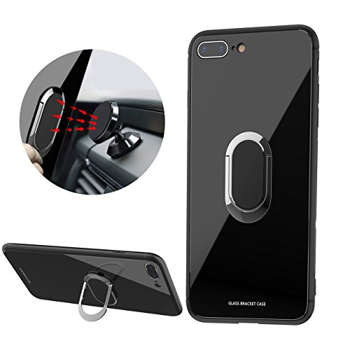 Magnet Finger (Newseego Compatible with iPhone 7 Plus Case,iPhone 8 Plus Case,Tempered Glass Hard Back Cover Anti-Scratches Soft TPU Bumper Case with 360 Rotating Magnet Finger Ring Holder for iPhone 7/8 Plus-Black)