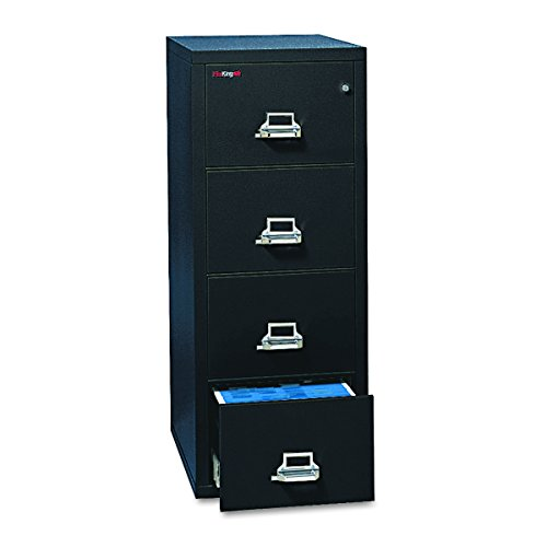 FireKing 41825CBL 20-3/4-Inch by 31-1/2-Inch Insulated 4-Drawer Vertical Letter File, Black