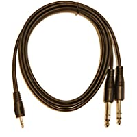 5ft. 3.5mm TRS Stereo to 2 x 1/4 (6.3mm) Stereo TRS Splitter Y Cable Adapter
