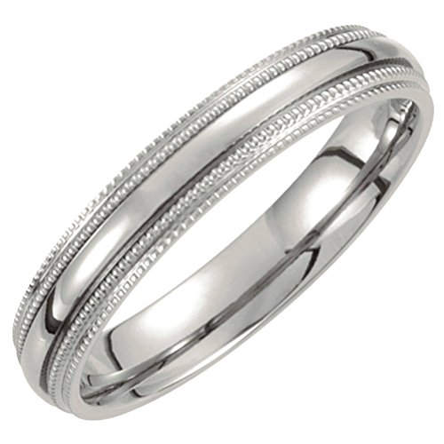 Titanium Double Milgrain 4mm Comfort Fit Band Size 5.5 by The Men's Jewelry Store (for HER)