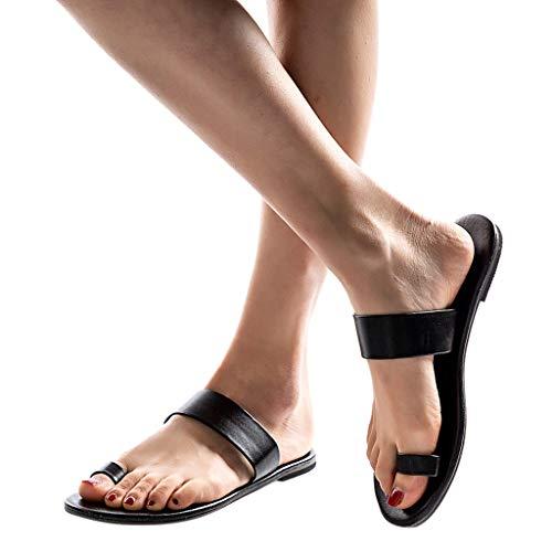 Couleur Bazhahei Uni Femmes De Printemps Dames Pantoufles Noir Romaines Été Chic Chaussons À Sandales Talon Plat Plates Plage Chaussures wTxnn801