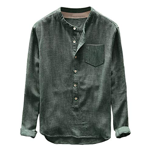 Corriee Shirts for Men Casual Cotton Linen Long Sleeve Button Pocket T Shirt Mens Comfy Solid Color Tee Top Green