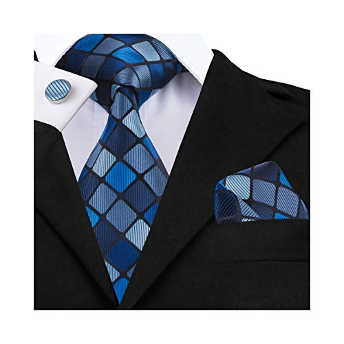 DiBanGu Men's Silk Tie and Pocket Square Woven Plaid Tie Cufflink Clip Set Business (Blue)