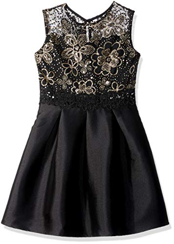 Amy Byer Girls' Big Fit & Flare Party Dress, Black/Gold Art Deco Floral Sequins, 10