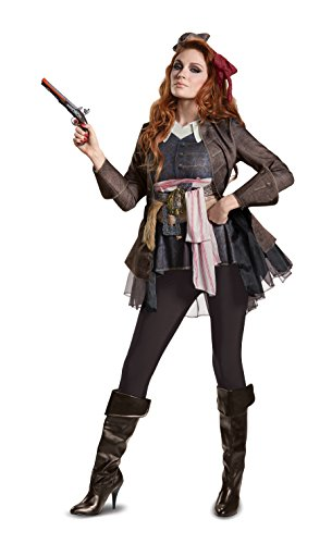 Disney Women's POTC5 Captain Jack Sparrow Female Deluxe Adult Costume, Brown, Large (Jack In The Box Costume Head)