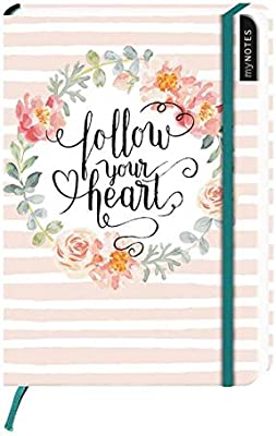 blanko Notizbuch Mediumformat Notizbuch medi f/ür Tr/äume myNOTES Follow your heart Pl/äne und Ideen blanko