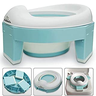 3-in-1 Go Potty for Travel, Portable Folding Compact Toilet Seat,Potty Training Toilet Chairs for Toddler Boys & Girls with storage Bag and Potty Liners by BlueSnail (blue)