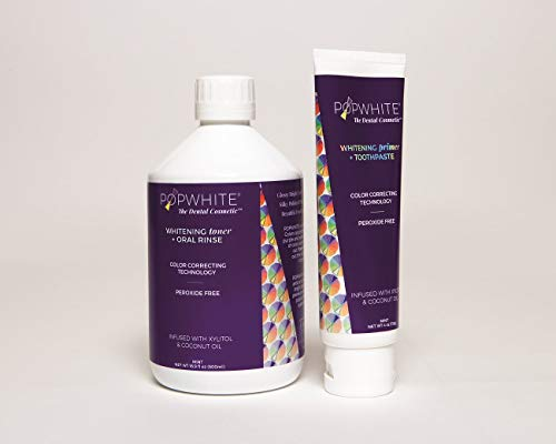 POPWHITE Whitening Primer Toothpaste and Whitening Toner Oral Rinse