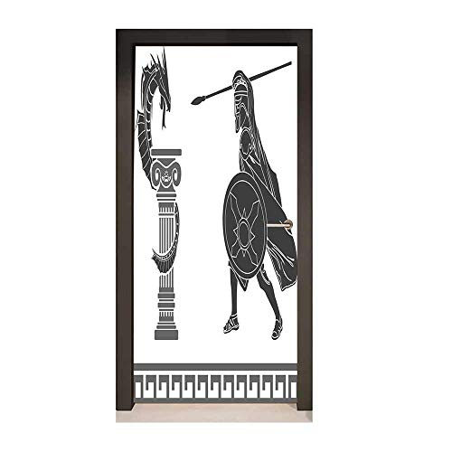 - Toga Party Door Decal Mythological Scene Ancient Hero and Dragon Hellenic Legend Fantasy Removable Vinyl Grey Charcoal Grey White,W23xH70