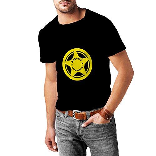 lepni.me T Shirts For Men Sheriff Department Cotton Hooded Sweatshirt (XXX-Large Black - Bush Tory