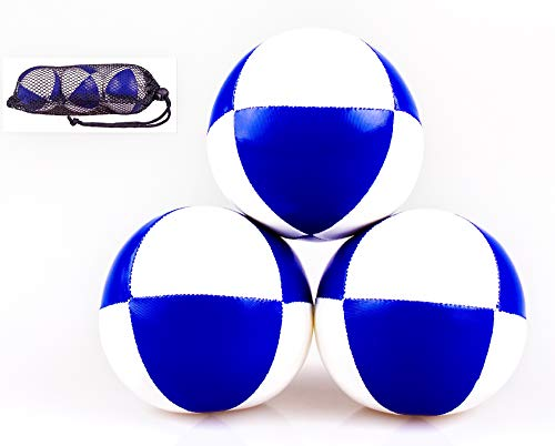 "Set of 3 Juggling Balls 8 Panel 2.5"" Mesh Bag Included Synthetic Leather Blue and White from Joggling Jester"