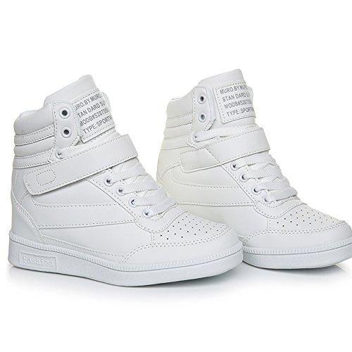 Noir Compensé Plat Femme Argent Basket cm Chaussures Montante 7 Scratch Rose Wedge Heels Sneakers Blanc Compensées Talon vq66ac0