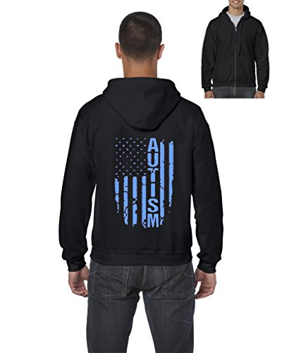 NIB Autism Flag Blue American Flag Autism Awareness Match w Autism Gift Mens Hoodies Zip Up Sweater