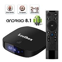 TV Box Android tv sistema 8.1 - Leelbox Smart TV Box con Telecomando Vocale, 2GB RAM & 16GB ROM, widevine L1, 4K*2K UHD H.265, USB*2, WiFi Media Player, Android Set-Top Box