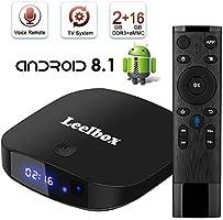 TV Box Android TV Sistema 8.1 - Leelbox Smart TV Box con Mando Inteligente, 2GB RAM & 16GB ROM, widevine L1, 4K*2K UHD H.265, USB*2, WiFi Media Player, Android Set-Top Box