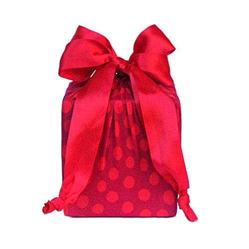 Premium Reusable Gift Bags - Red Dots Design (Small & Medium Sizes) - Eco Friendly Gift Bags made of Stretchy Fabric - Small Reusable Gift Bags Medium Size Too! Use - Red Dot Design Product