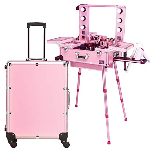 Giantex Rolling Cosmetics Case with Mirror, Cosmetic Case with Telescoping Legs, Six LED Lights, Makeup Train Case for Dressing Room Wedding Makeup Room, Makeup Case with Several Dividers (Pink) (Rolling Makeup Case With Lights And Mirror)