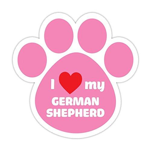 ((5 Stickers Combo Deal) Dog Paw Shaped Bumper Sticker Vinyl Decal I Love My German Shepherd Pink 5