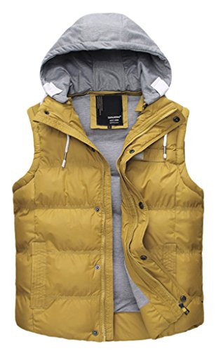Wantdo Women's Winter Hooded Quilted Padded Puffer Vest(Yellow,US 10)