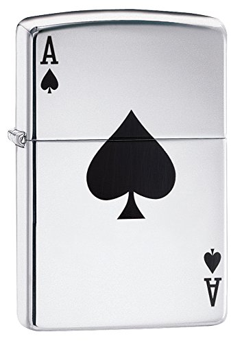 Zippo 24011 Ace of Spades Pocket Lighter, High Polish Chrome