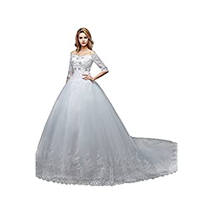b63dddaccb4 Dobelove Women s Off Shoulder Half Sleeves Beaded Court Train Wedding  Dresses