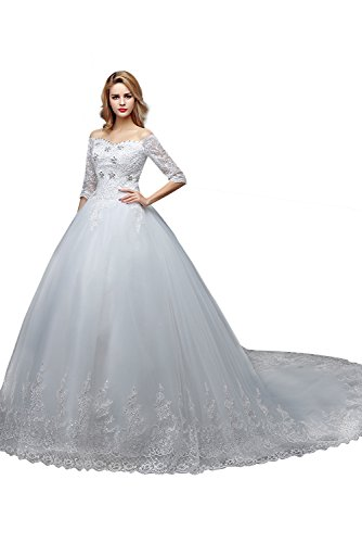 Mezze Dobelove Di Corte Da Sposa Donne Treno Delle Maniche Bianco Perline Spalle Abiti 45ZxqZwS