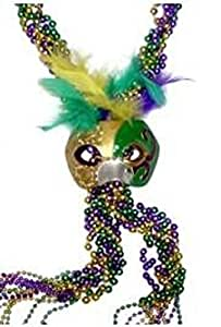 "Mardi Gras, Purple Green Gold Braided Beads with Half Mask, 60"", 1 Dozen (12pcs)."