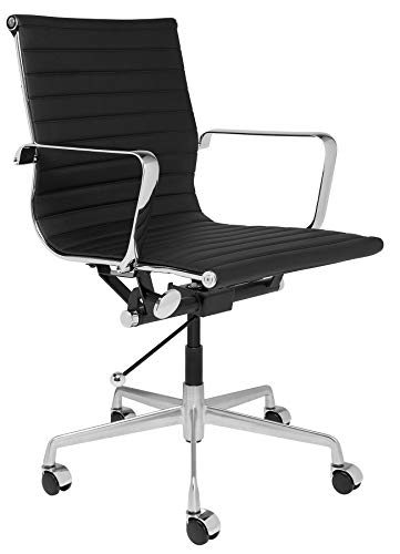 SOHO Mid Century Modern Ribbed Management Office Chair (Black)
