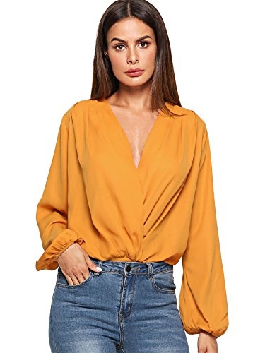 Verdusa Women's Long Sleeve Wrap V-Neck Leotard Blouse Bodysuit Ginger XS (Wrap Jumpsuit)
