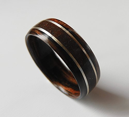 Bentwood Ring Dinosaur Bone with Silver on Macassar Ebony, Non-Metal ring, engagement, anniversary by Metal Forest Designs