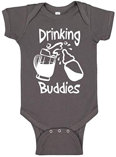 Reaxion Aiden's Corner - Funny Baby Boy & Baby Girl Clothes - Drinking Buddies Infant Bodysuit (0-3 Months, Mug Charcoal) -