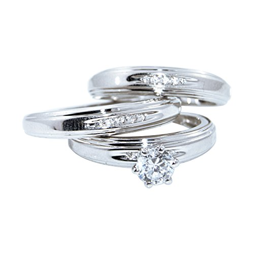 Diamond Scotch 14k White Gold Over Solitaire Men and Women Couple His and Hers Trio 3 Three Ring Bridal Matching Engagement Wedding Ring Band - Trio Gold