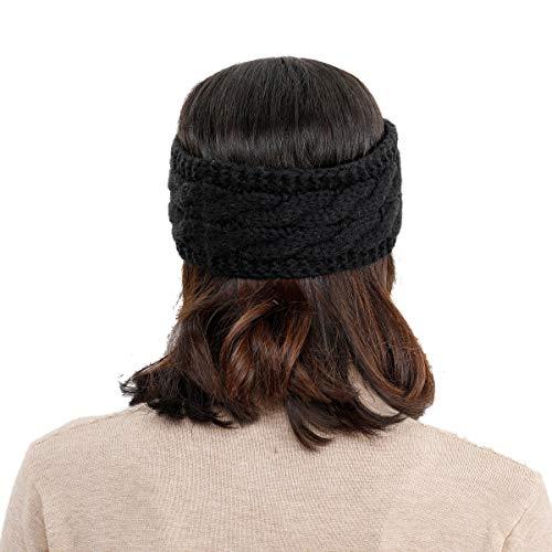 8b50441efacab YOOWL Winter Beanie Headwrap Hat Cap Fashion Stretch Twisted Cable Knit  Fuzzy Lined Ear Warmer Headband