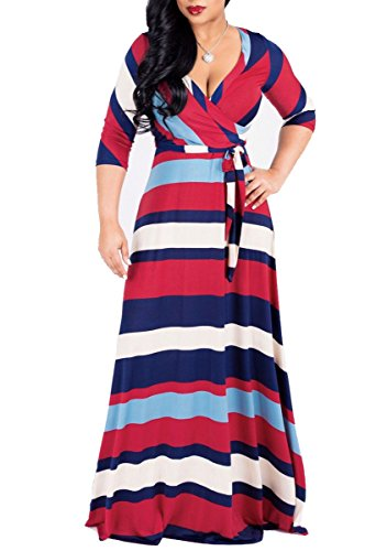 Stripe Faux Wrap - shekiss Women's Casual Sexy V-Neck Floral Floor Length Long Sleeve Maxi Dress Party Prom Ladies Outfit with Belt Striate