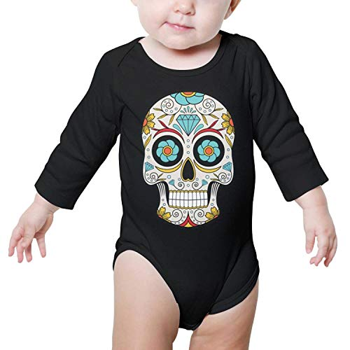 PoPBelle Florida The Day of The Dead Baby Onesie Black Romper Long Sleeve Sleepwear Cotton Gift -