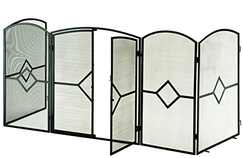 Modern Large Fireplace Screen with doors, Tall Black Mesh Fire Guard / Stove Screen for Fireplaces ~ Height 32 inches x Total Width 90.75 inches, Weight 14bs, Foldable, Free Standing or Wall Fixed