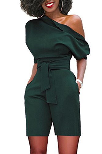 Casual Ruffles Women Jumpsuits Off The Shoulder Sashes Short Pants Romper Green ()